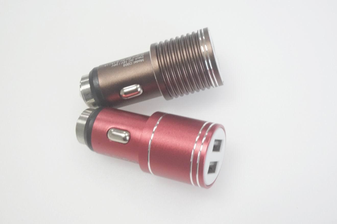 破窗錘車載USB車充金屬外殼、2.4a快速充電雙usb口車充、CE/FCC認証車充 5