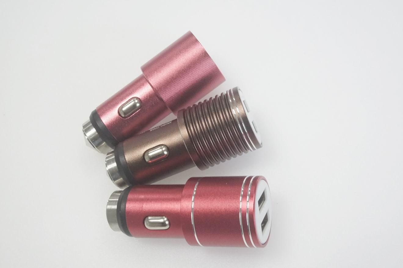 Broken window hammer usb car charger metal shell、2.4A car charger、CE/FCC 10