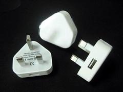 英式插脚usb适配器 1a英规插头适配器 ce认证三角英规充电器