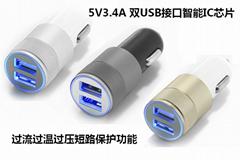 滚花车充USB铝合金套壳2.4a双usb车载充电器CE/FCC认证