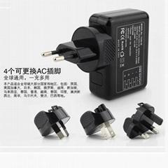 4个usb接口旅行充电器全球通插头可转换使用