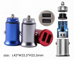 Small Metal Car Charger、4.8a Car Charger、Dual usb Car Charger  (Hot Product - 1*)