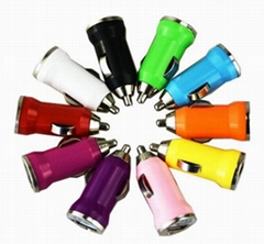 Mini USB car car charger 5v1a seven color choice usb car charge bullet