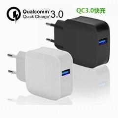 USB手機快充3.0美國UL認証5v3a9v2a12v1.5a三組電壓電流自動識別充電