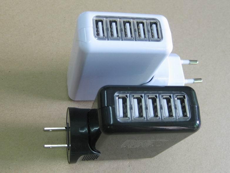 全球通旅行充电器QC3.0快充+4个USB接口旅行充 1