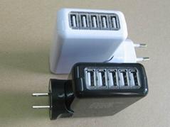 全球通旅行充電器QC3.0快充+4個USB接口旅行充