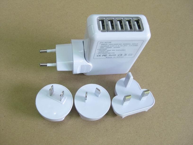 全球通旅行充電器QC3.0快充+4個USB接口旅行充 3