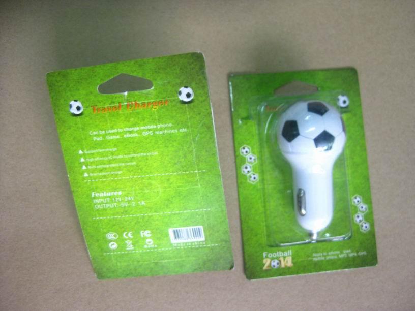 Football shape usb car charger 2.1a single-port usb soccer car charger ce fcc ce 7