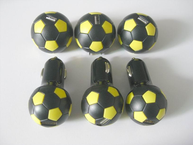 Football shape usb car charger 2.1a single-port usb soccer car charger ce fcc ce 3