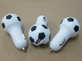 Football shape usb car charger 2.1a single-port usb soccer car charger ce fcc ce 8