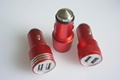 Metal shell usb car charger 5v2.4a dual usb car charger aluminum alloy shell 7