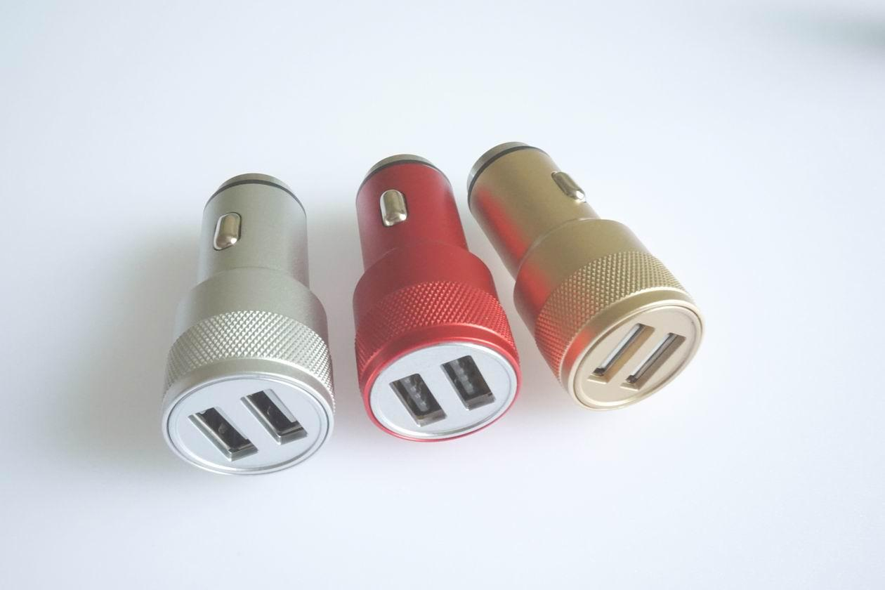 Metal shell usb car charger 5v2.4a dual usb car charger aluminum alloy shell 8