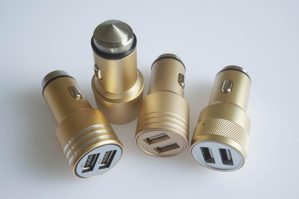 Metal shell usb car charger 5v2.4a dual usb car charger aluminum alloy shell 10