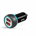 Double QC3.0 car charger two USB are qc3.0 fast charge 5v6a 9