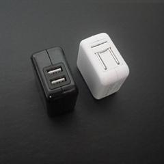 出口美國UL認証 雙USB直充 折疊插腳5v2.4a+1a
