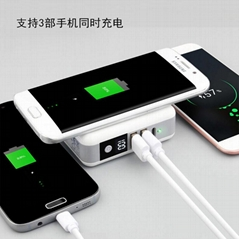 Mobile power charger with wireless charging three-in-one charger