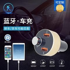 数字显示屏蓝牙车充 双USB车充带蓝牙