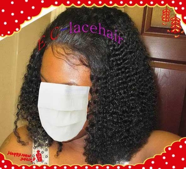 Virgin  Kinky Curl  Human Hair Lace Wigs Maker Factory Price 3