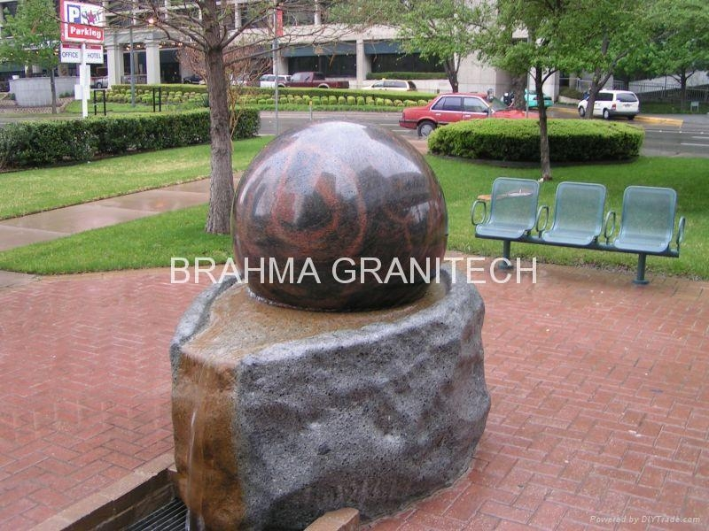 rolling sphere fountains,stone globe fountain