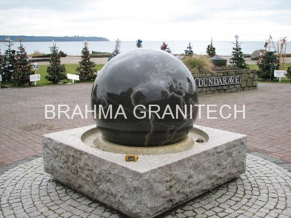 gray stone ball fountain,Spinning sphere water feature 3