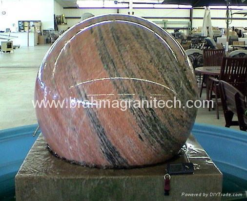 granite ball,spinning ball fountain,spinning sphere water feature fountain 2
