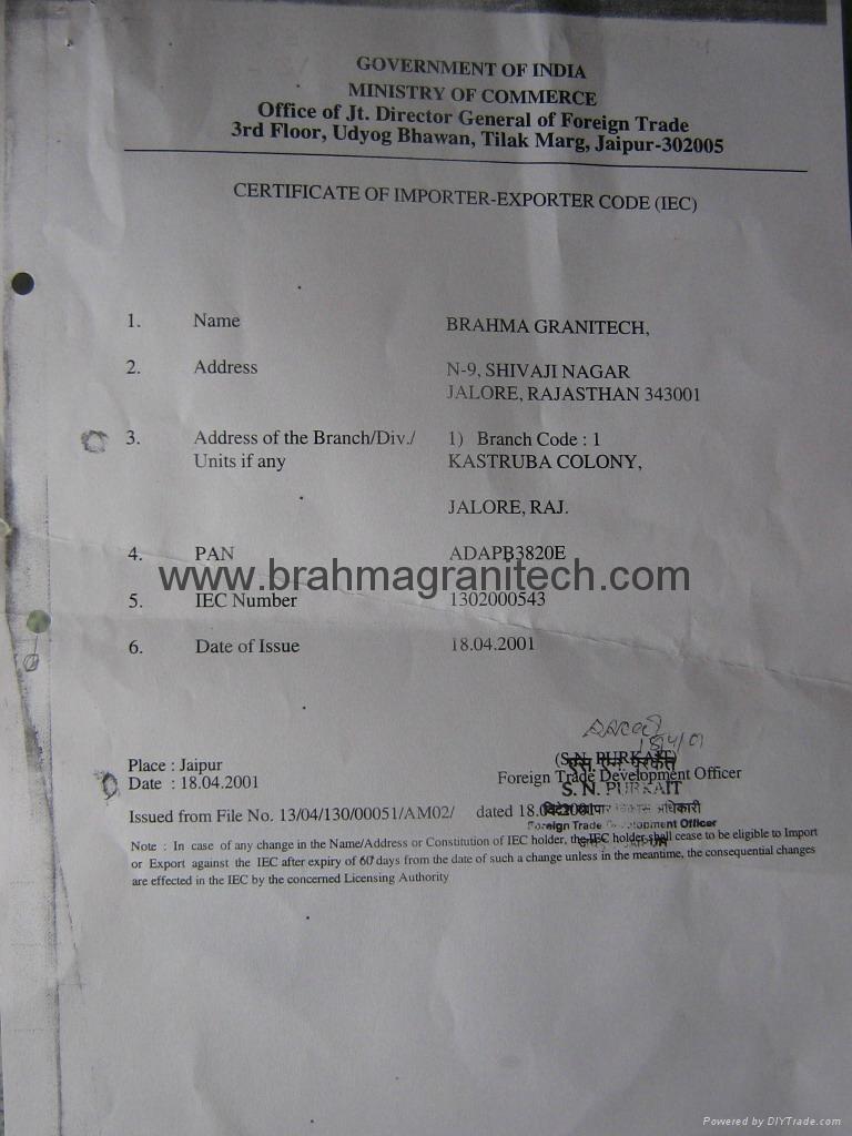 Brahma Granitech Certificate