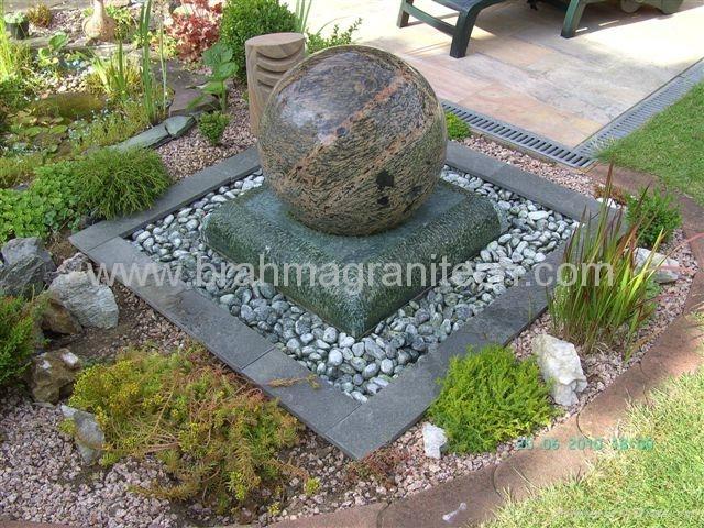 steinkugel garten,gartenbrunnen granit kugel