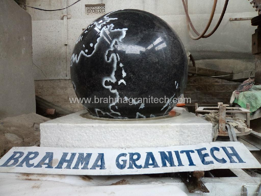 granitkugel schwarz poliert,schwimmende kugelbrunnen
