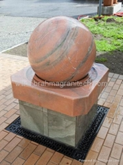 stone sphere fountain installed in Texas,USA