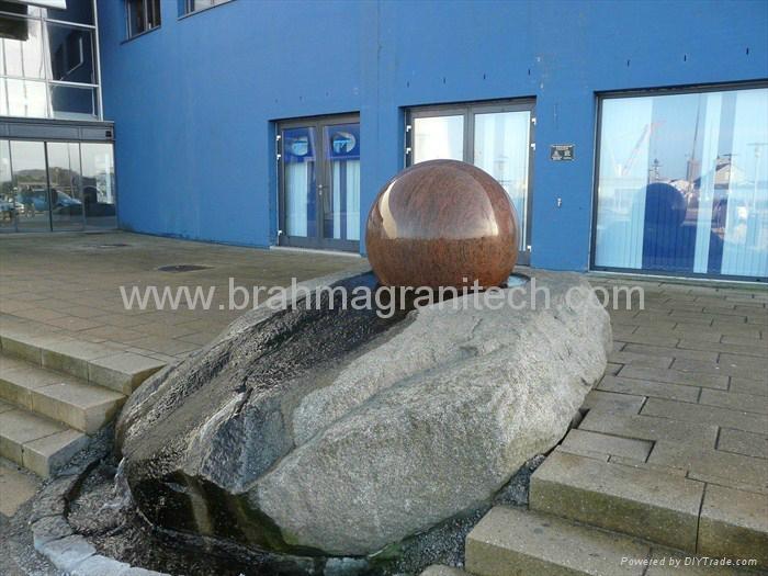 Pool Centerpiece black Granite Sphere on Solid Black Granite Base  4