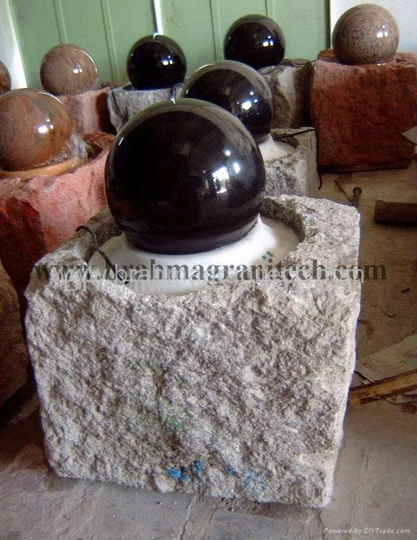 Gray granite Sphere with on rock solid base  1