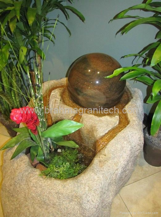 NATURAL MARBLE BALL SPHERE GLOBE WATER FOUNTAIN 3
