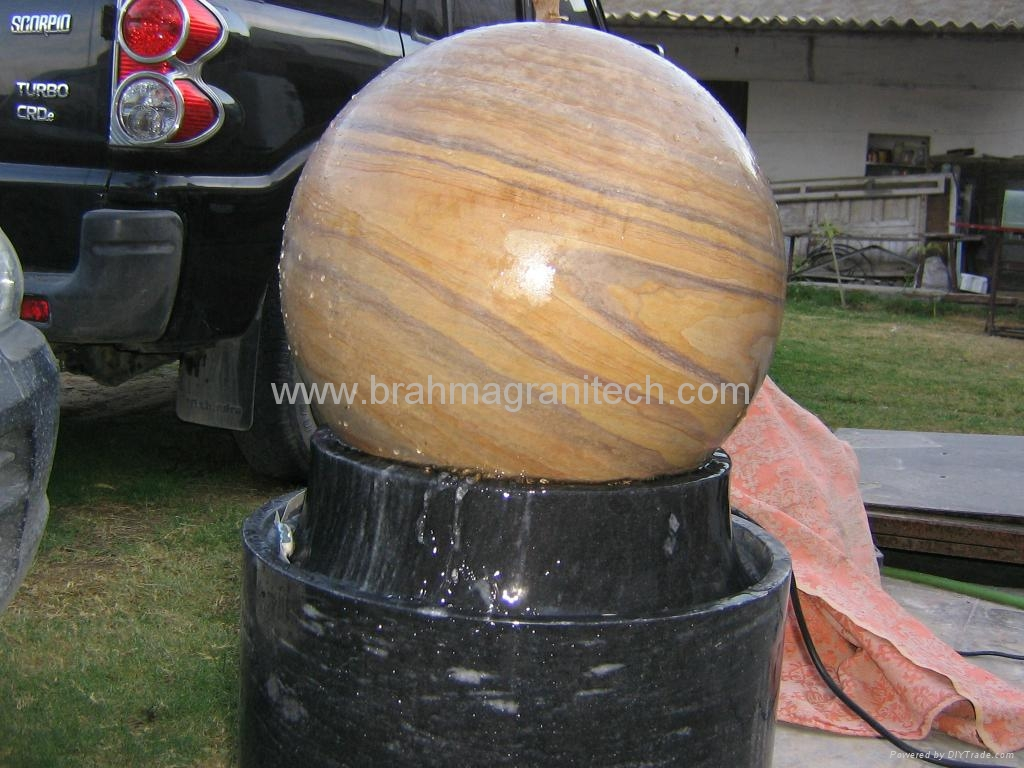 rotating garden ball sphere,garden water feature,stone ball 2