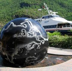 white floating granite spheres,ball fountain