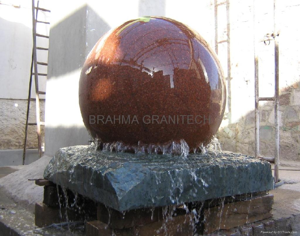 stone ball fountains,spinning ball fountains,red floating spheres