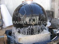 black ball fountain,black stone ball fountain,black granite fountain