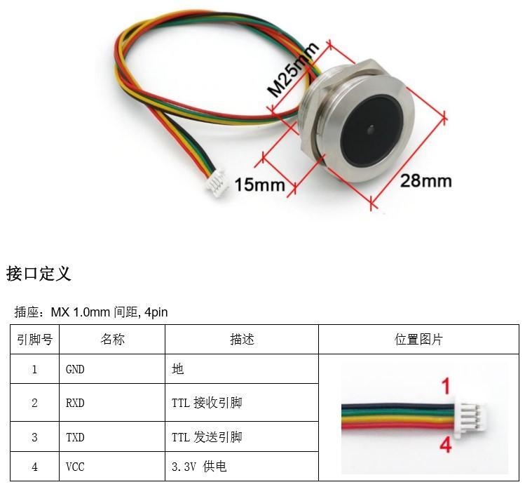 GM60 圆形金属外壳 条码二维码扫描识别模块 螺纹安装识读模组 2