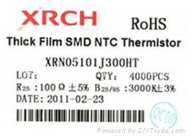 印刷型NTC(负温度系数)片式热敏电阻器0805-100欧 1