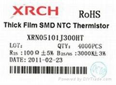 印刷型NTC(负温度系数)片式热敏电阻器0805-100欧