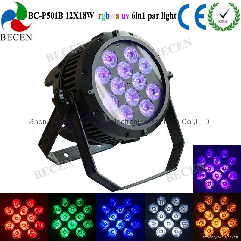 12X18w rgbwa-uv 6in1 waterproof led par light IP65 1