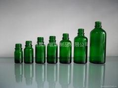 绿色玻璃精油瓶配套电化铝盖胶头滴管