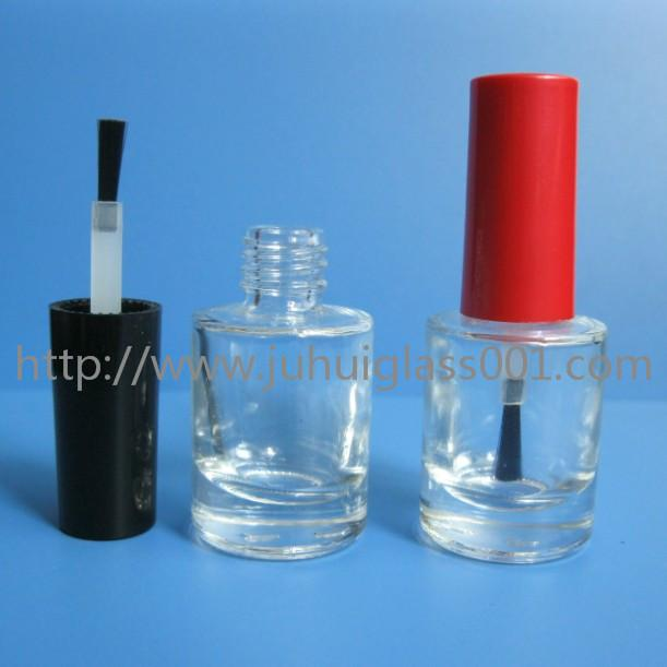 8ml Transparent /Black Color Round Glass Nail Polish Bottle with Cap and Brush 3
