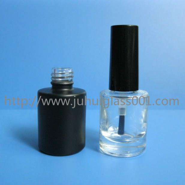 8ml Transparent /Black Color Round Glass Nail Polish Bottle with Cap and Brush 4