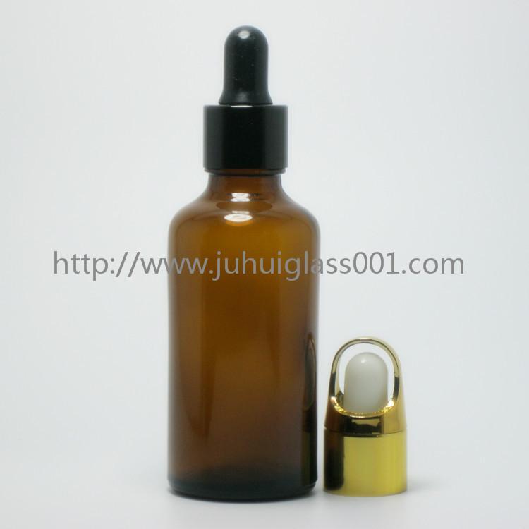 茶色50ml精油瓶香精瓶可配套各种塑料盖电化铝盖玻璃滴管 12