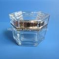 高档新款30g六角形玻璃罐膏霜