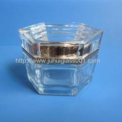 高档新款30g六角形玻璃罐膏霜瓶