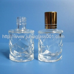 10ml Lattice Pattern Glass Perfume Bottle With Golden Lid