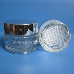 30g 50g格紋底玻璃膏霜瓶配電鍍蓋
