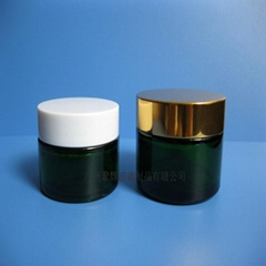 Green Glass 30G/50G Cream Jar with Different Cap