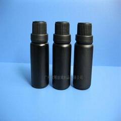 瘦长平肩15ml喷涂黑色玻璃精油瓶香精瓶